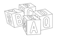 Kids cubes with letters. Stock Photos