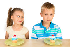 Kids and Cupcakes Royalty Free Stock Photography