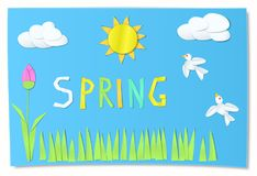 Kids cut paper art for spring. Imitation Kids cut paper art for spring. Colorful letters, grass and tulip on blue background. Sky with sun and clouds. Vector Royalty Free Stock Images