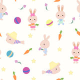 Kids cute seamless pattern with bunnies on white Stock Image