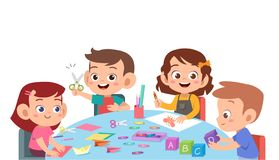 Free Kids Cutting Color Paper With Scissors Stock Photo - 157365830