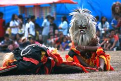 Kids in Dance and attraction of traditional Reog Ponorogo Royalty Free Stock Image