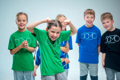 The kids dance school, ballet, hiphop, street, funky and modern dancers Stock Image