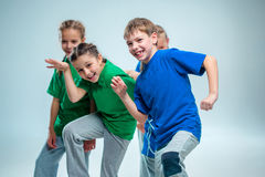 The kids dance school, ballet, hiphop, street, funky and modern dancers stock photography