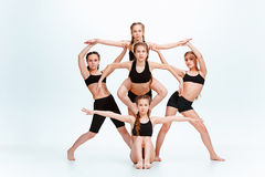 The kids dance school, ballet, hiphop, street, funky and modern dancers Stock Photo