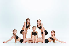 The kids dance school, ballet, hiphop, street, funky and modern dancers Stock Images