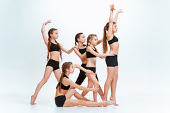 The kids dance school, ballet, hiphop, street, funky and modern dancers royalty free stock photography