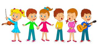 Kids dance, sing and play music. Kids,boys and girls dance, sing and play music,illustration,vector Royalty Free Stock Image
