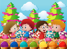 Kids dancing in the candyland royalty free illustration