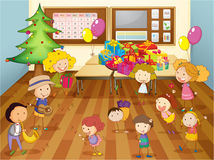 Kids dancing in classroom Royalty Free Stock Photo