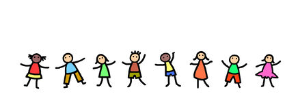 Kids dancing illustration. Line of stick figure kids dancing Stock Images