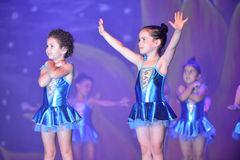 Kids dancing modern dance. In end of the year classes show in karmiel Israel Stock Image