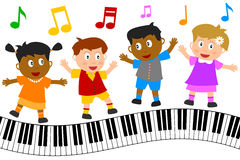 Kids Dancing on Piano Keyboard. Group of four happy multiculture kids dancing on wavy piano keyboard, isolated on white background. Eps file available Royalty Free Stock Photos