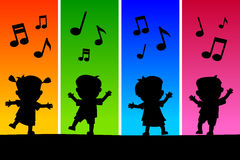 Kids Dancing Silhouettes Royalty Free Stock Photography