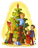 Kids Decorating a Christmas Tree. Vector cartoon holiday art illustration Stock Images