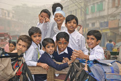 Kids of Delhi. Kids of different nations of India in the street of New Delhi Royalty Free Stock Photo