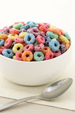 Kids delicious cereal loops or fruit cereal Stock Images