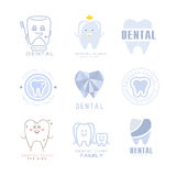 Kids Dental Clinic And Dentist Cabinet Set Of Label Templates In Different Creative Styles And Light Blue Shades Royalty Free Stock Photo