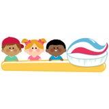 Kids dental hygiene holding toothbrush. Royalty Free Stock Images