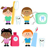 Kids dental hygiene vector set Royalty Free Stock Photography