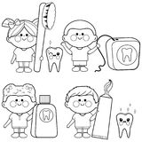 Kids dental vector set. Coloring book page. Vector illustration set of children using dental hygiene objects: toothbrush, toothpaste, dental floss, mouth wash Stock Image