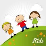 Kids. Design over landscape background vector illustration Royalty Free Stock Photo