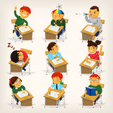 Kids at desks. Set of children sitting at their desks and behaving differently. Elementary school lesson illustration Royalty Free Stock Images