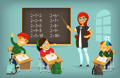 Kids at desks. Set of children sitting at their desks and behaving differently. Elementary school lesson illustration Royalty Free Stock Photos