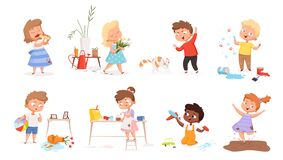 Free Kids Destroy. Little Delinquent Messy Children Hyperactivity Energy Games Vector Different Troubles Situation Royalty Free Stock Photos - 186027368