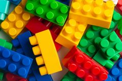 Kids development, Building blocks, Building construction and lorry royalty free stock photo