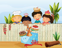 Kids and the different cakes royalty free illustration