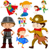 Kids in different costume Royalty Free Stock Images