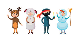 Kids different costumes isolated vector illustration Royalty Free Stock Photo