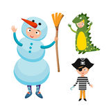 Kids different costumes isolated vector illustration vector illustration