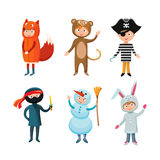 Kids different costumes isolated vector illustration stock illustration