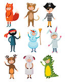 Kids different costumes  vector Stock Photos