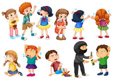 Kids at different crime scenes. Illustration Royalty Free Stock Photography