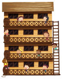 Kids on different floors of the house stock illustration