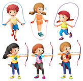Kids with different hobbies. Illustration of the kids with different hobbies on a white background Stock Images
