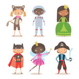 Kids of different nation in costumes for party or holiday. Pirate, fairy, superhero, princess, astronaut and kitten costume. Cartoon vector illustration of vector illustration