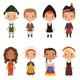 Kids of different nationalities. Vector children boy and girl ethnic traditional costume illustration Stock Image