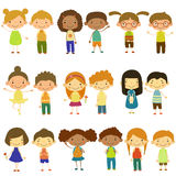 Kids of Different Nationalities and Lifestyles. Set of vector kids of different lifestyles and cultures. Flat design Royalty Free Stock Image