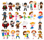 Kids in different outfits. Illustration Royalty Free Stock Image