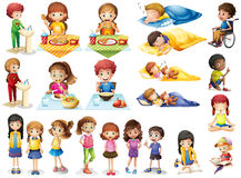 Kids and different routines. Illustration Stock Photography