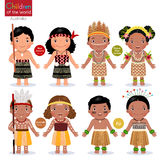 Kids in different traditional costumes. New Zealand, Papua New G Royalty Free Stock Photos