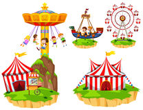 Kids on different types of rides at park Stock Images