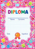 Kids diploma background with education supplies Stock Images