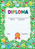 Kids diploma background with education supplies Royalty Free Stock Photo