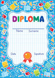 Kids diploma background with education supplies Royalty Free Stock Photos