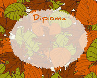 Kids Diploma certificate background. Autumn background with leaves. Preschool Elementary school. Kids Diploma certificate background design template. School Royalty Free Stock Photo